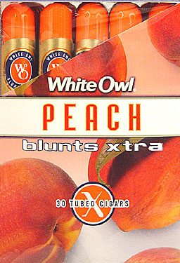 WHITE OWL BLUNTS XTRA - PEACH  - 30 TUBED CIGARS