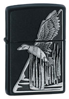 ZIPPO BLACK DUCK EMBLEM - BLACK MATTE