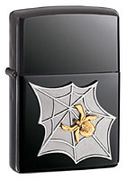 ZIPPO GOLDEN WEB EMBLEM - BLACK ICE