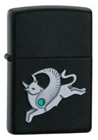 ZIPPO WINGED TAURUS EMBLEM - BLACK MATTE