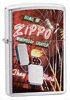 ZIPPO NEON SIGN - BRUSHED CHROME