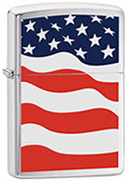 ZIPPO AMERICAN FLAG - BRUSHED CHROME