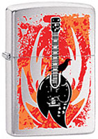 ZIPPO FLAME GUITAR - BRUSHED CHROME