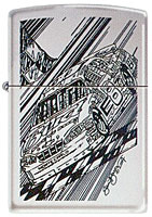 ZIPPO DALE JR. &quot;CAR QUICK SKETCH&quot; - HIGH POLISH CHROME