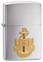ZIPPO U.S. NAVY ANCHOR EMBLEM - BRUSHED CHROME