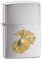 ZIPPO U.S. MARINES EMBLEM - BRUSHED CHROME