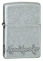 ZIPPO BARBED WIRE - ANTIQUE SILVER PLATE