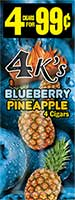 4 Kings Cigarillos Blueberry Pineapple 15ct Box