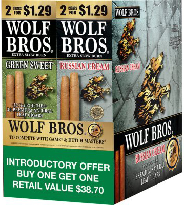 Wolf Bros Green Sweet and Russian Cream Cigarillos Combo